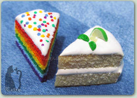 Polymer Clay Lime and Rainbow Cake
