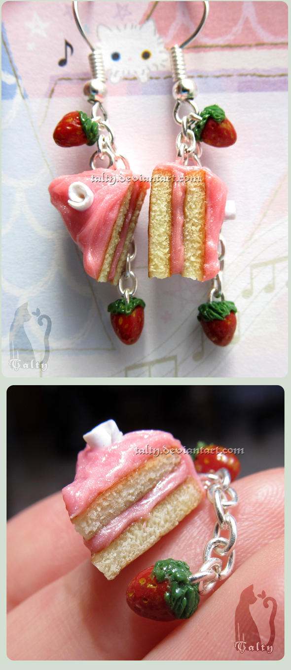 Pink Strawberry Cake Dangling Earrings by Talty