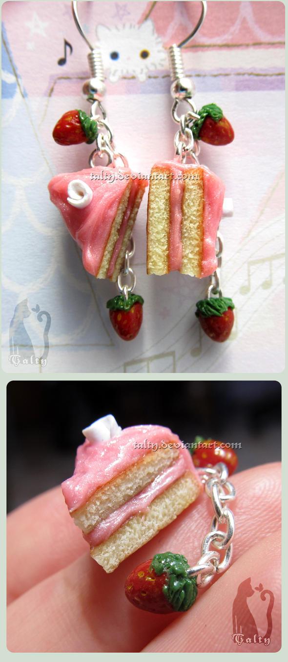 Pink Strawberry Cake Dangling Earrings by Talty