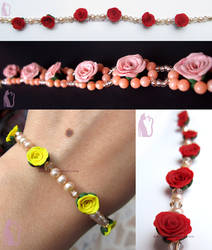 Pink, Red and Yellow Rose and Pearl Bracelets by Talty