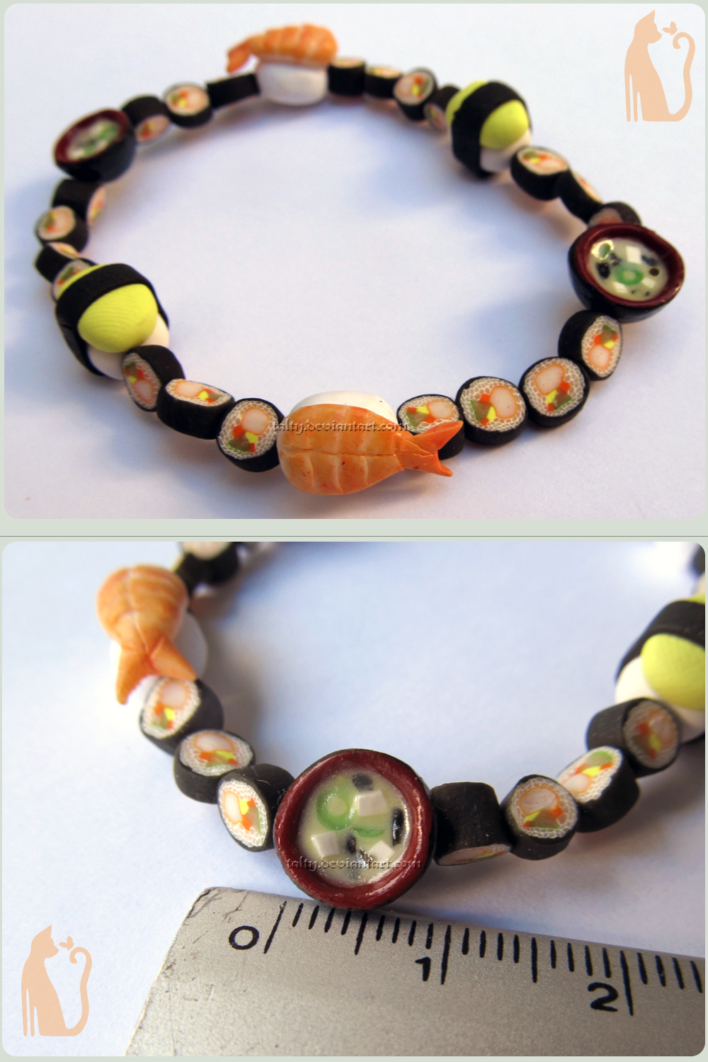 Polymer Clay Bracelet with Ebi, Miso and Tamago by Talty