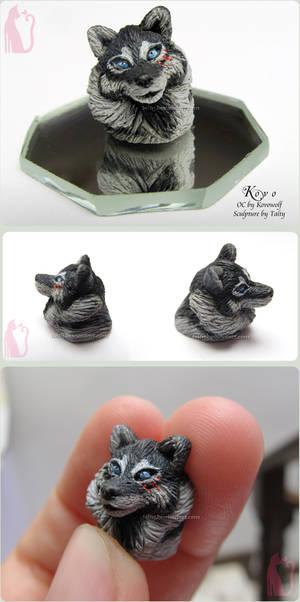 Kovo wolf polymer clay bust sculpture
