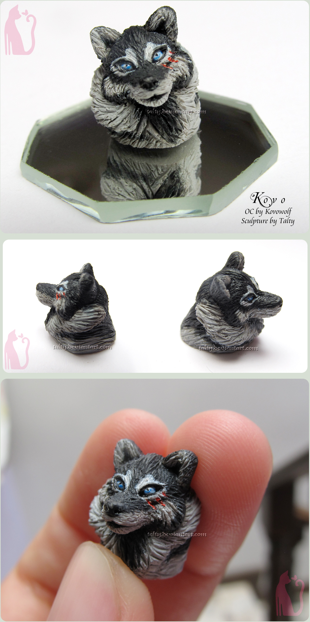 Kovo wolf polymer clay bust sculpture by Talty