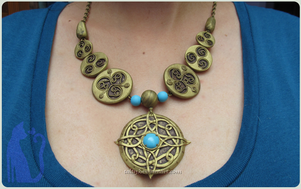 Polymer Clay Amulet of Mara - Skyrim Fanart by Talty on