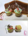 Rainbow Cupcake Earrings Polymer Clay