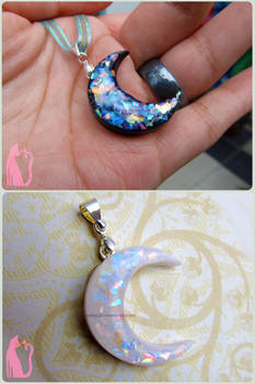 Black and White Faux Opal Moons Polymer Clay