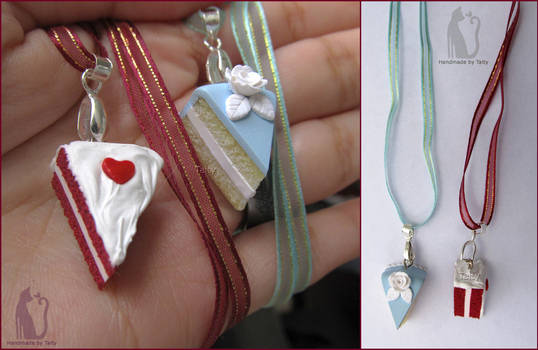 Polymer clay cake necklaces