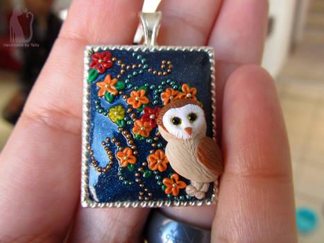Polymer clay owl pendant