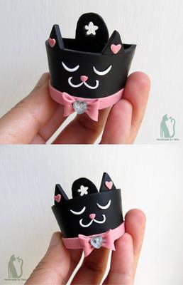 Black cat polymer clay planter