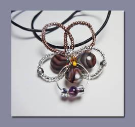 Purple Pansy - Wire Wrapped Pendant by RePietEnterprises