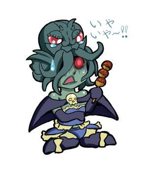 Cthulu-chan eats Takoyaki