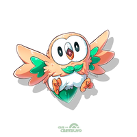 PokeDrawing | Rowlet by tsunami-dono