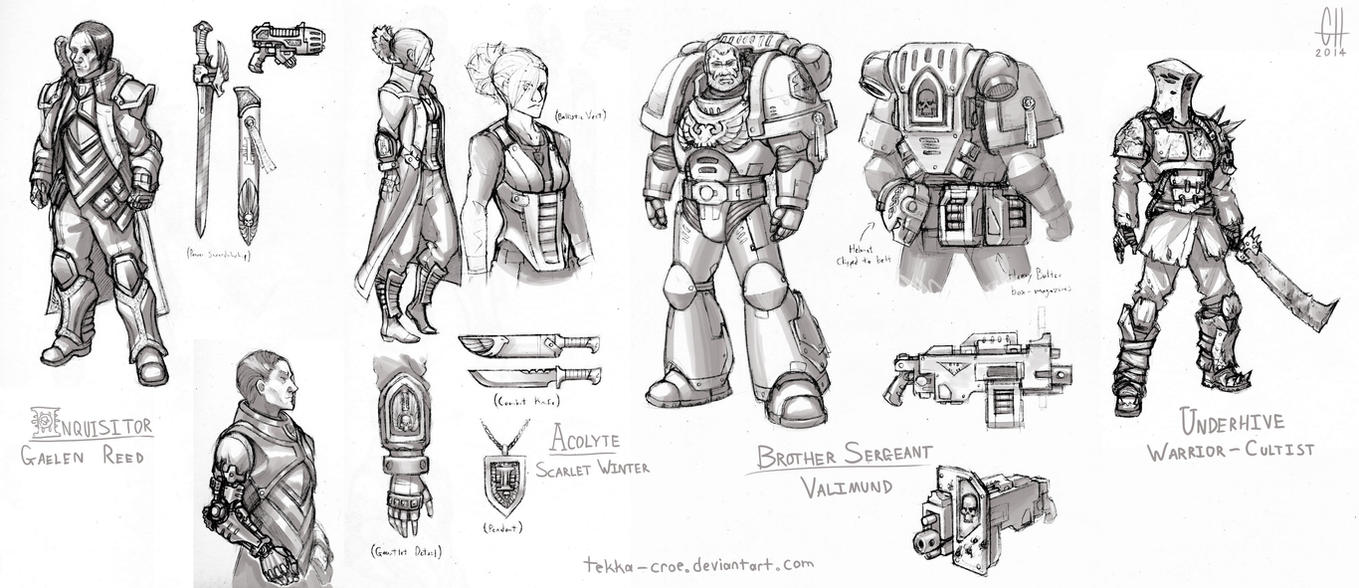 WH40k Character Sketches by Tekka-Croe