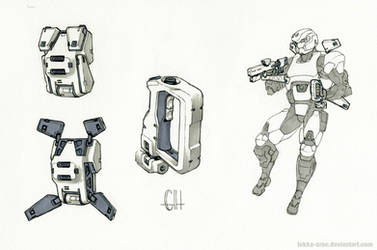 Inktober Day 9 (EVA Maneuvering Gear) by Tekka-Croe