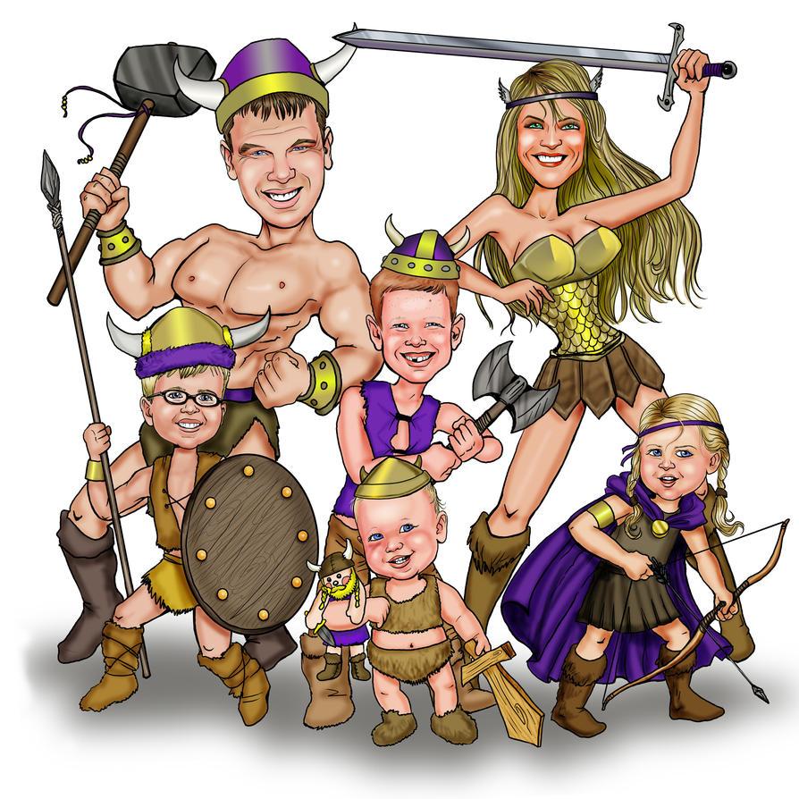 Viking Family Caricature by CelestiaWard on DeviantArt