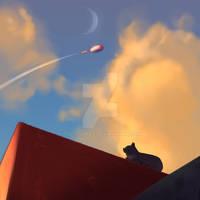 animal ship racer, model Z-0, sky by tolytomas