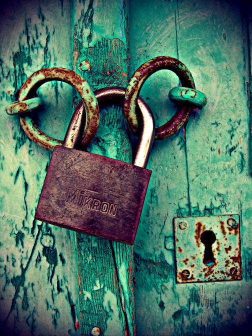 Rusty locks of old green door by madundar rusty - Old fashioned interior door locks ...