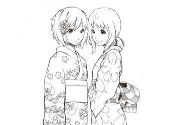Ranka and Sheryl in Kimonos by apengmara