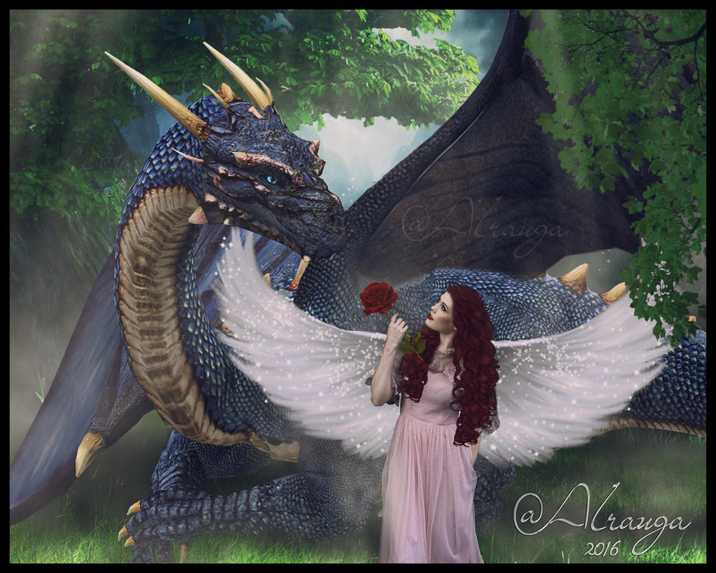 Angel and Dinosaur by alrauga