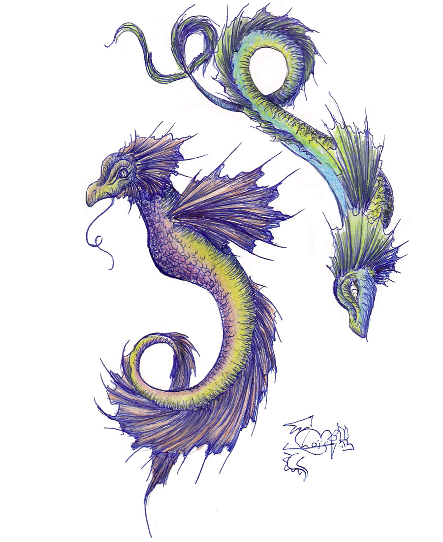 Mythical sea dragon tattoos for Sea dragon tattoo