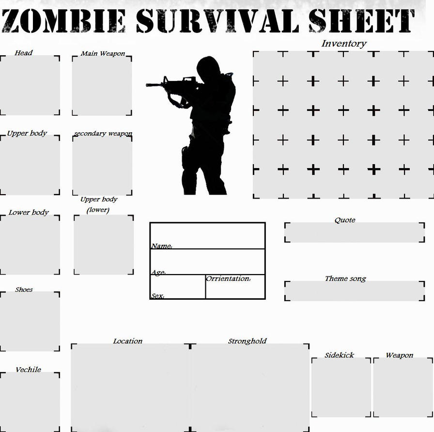 My New Zombie Survival Sheet - Boy version by AngelAzula15