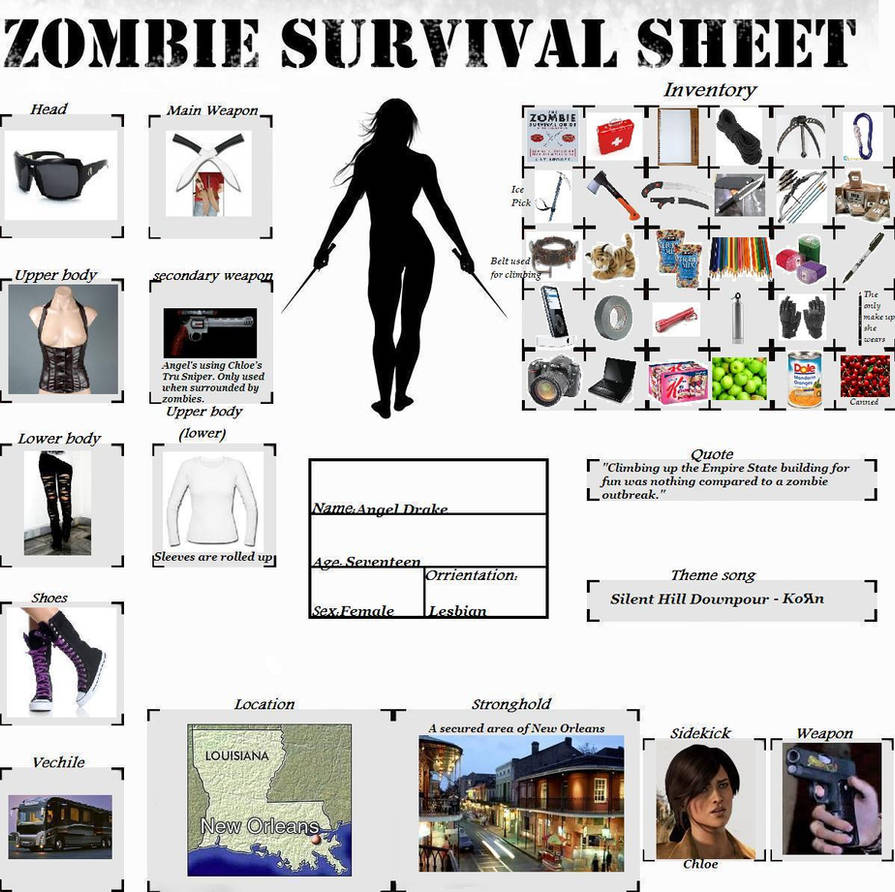 Uncharted OC - Angel Drake - Zombie Survival Sheet by AngelAzula15