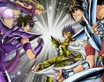 Manigoldo, Tenma, Yato et Yuzu