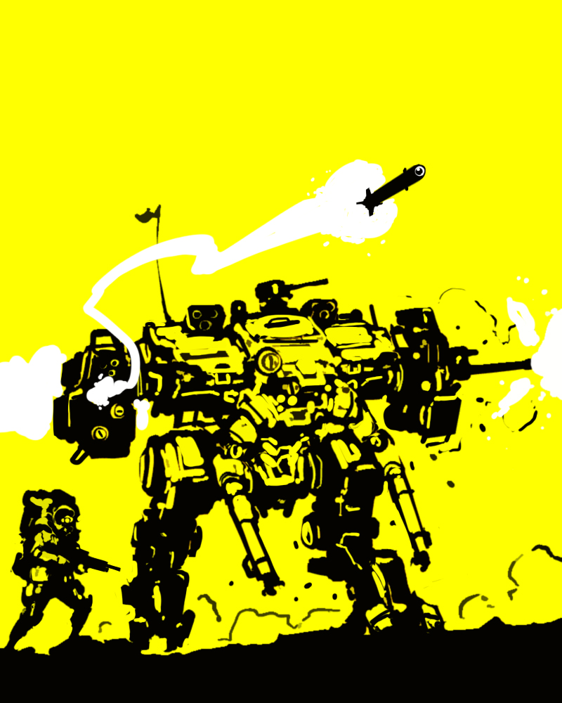 yellow mech doodle by flyingdebris