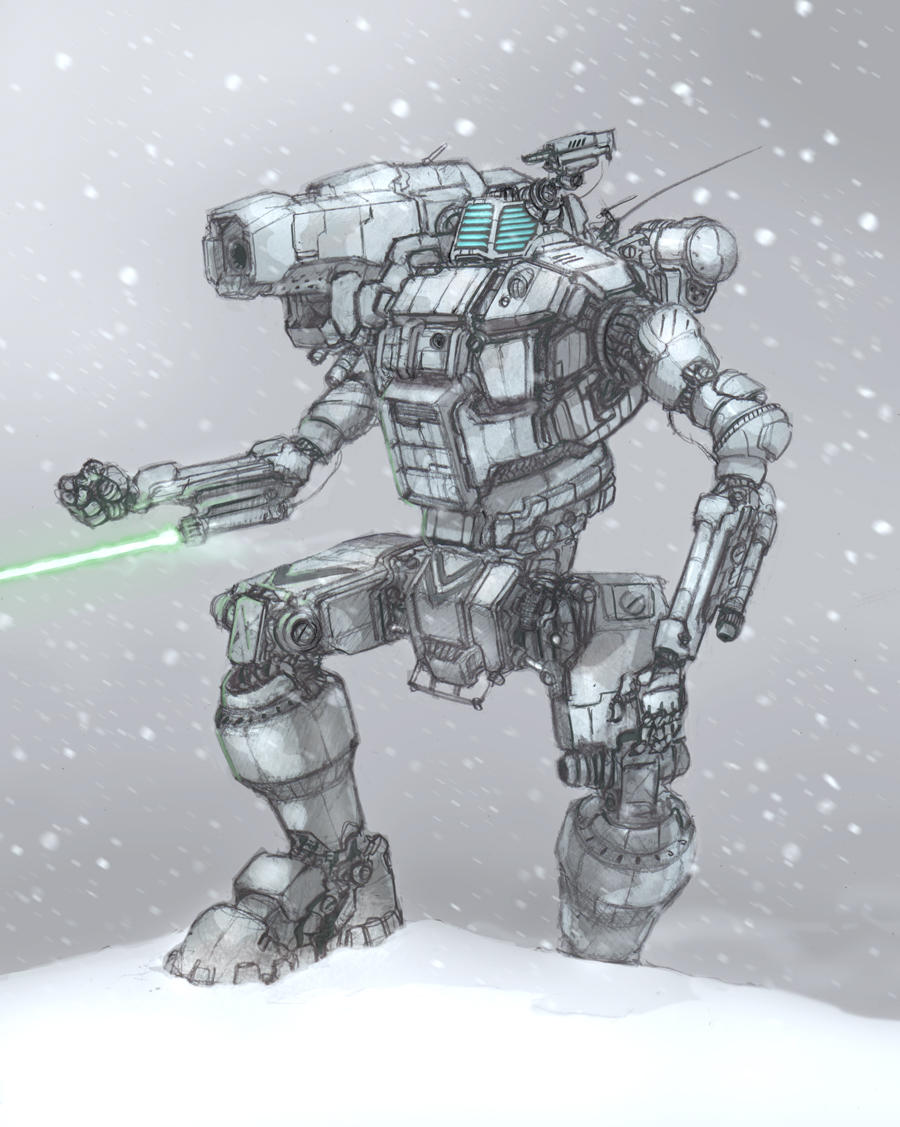 battletech hunchback in snow by flyingdebris