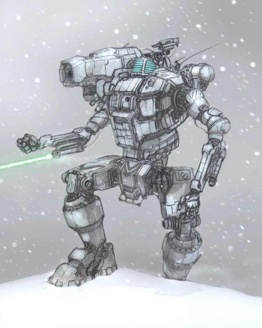 battletech hunchback in snow by flyingdebris