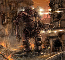 battletech akuma at factory by flyingdebris