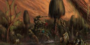 battletech Marauder in swamp