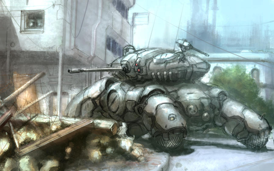 Tank in street by flyingdebris
