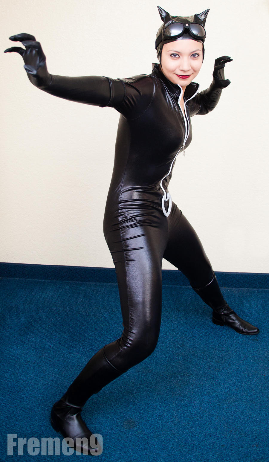 Catwoman Cosplay 3 Fighting Smile by SapphireEagle