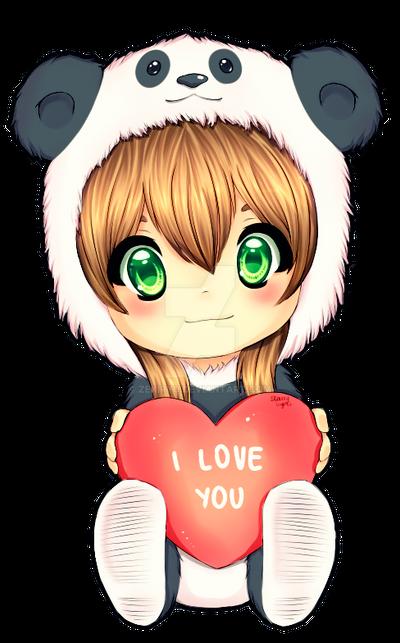 cute panda love drawings