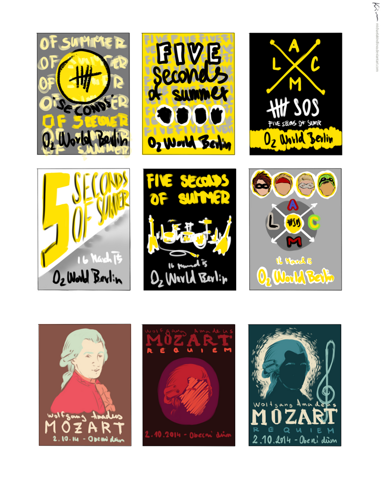 5sos poster design - School Work Concert Posters Sketches By Michaelakindlova