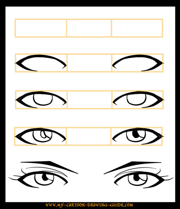 how to draw anime eyes step by step instructions