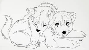 (free) Wolf-pup lineart