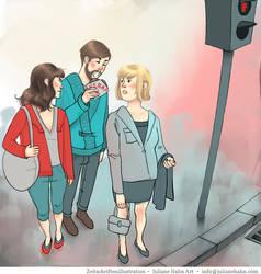 Magazine Illustration Kolumne Eating in public by julianehahn