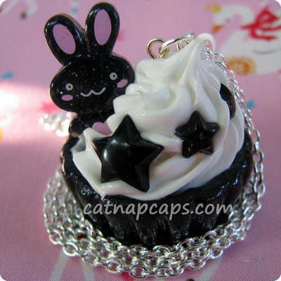Black Bunny Stars Necklace by CatNapCaps