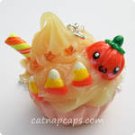 Pumpkin Cupcake Necklace by CatNapCaps