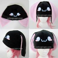 Sweet Cheek Black Bunny Hat by CatNapCaps