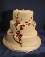 Sumi-e style blossoms on cake by Dragonsanddaffodils
