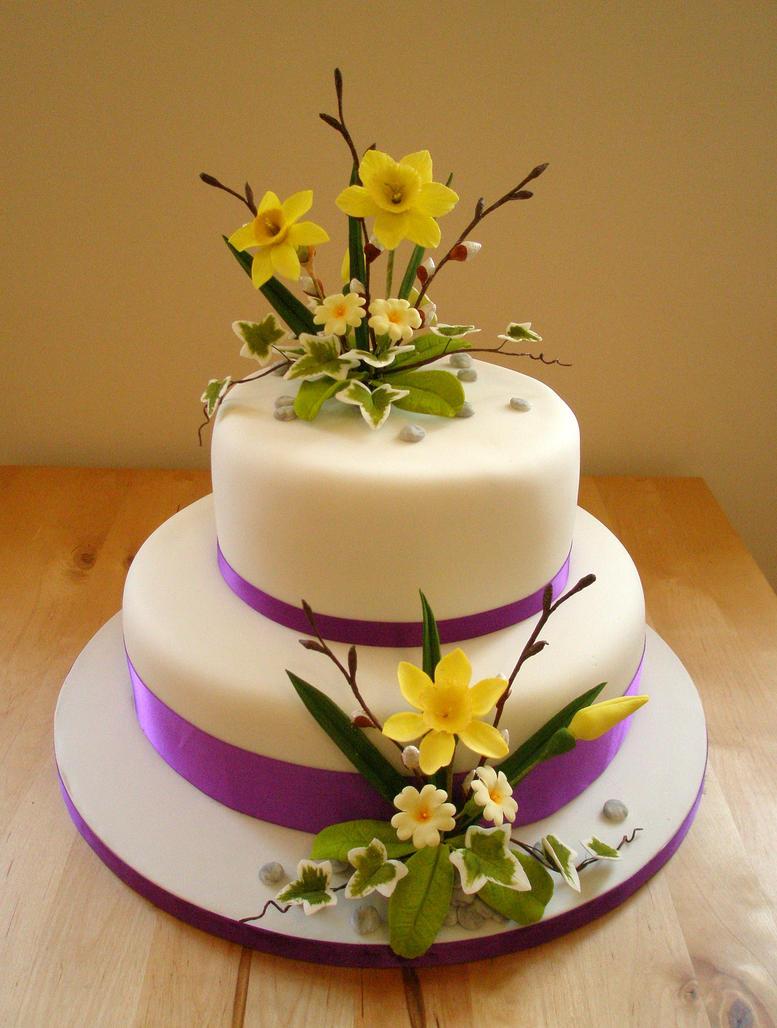Spring flowers wedding cake by Dragonsanddaffodils on DeviantArt