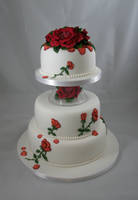 Stitched rose cake by Dragonsanddaffodils