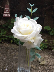 Wafer paper rose and eucalyptus