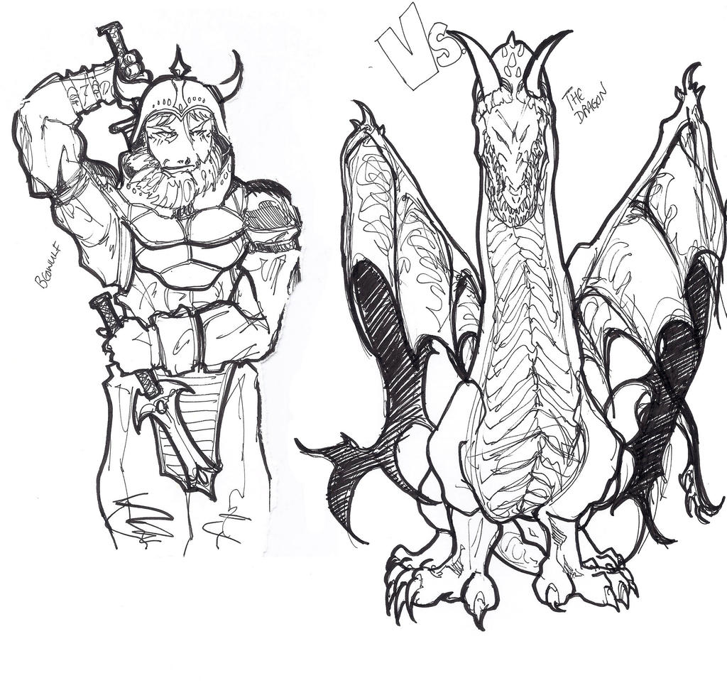 beowulf dragon drawing images