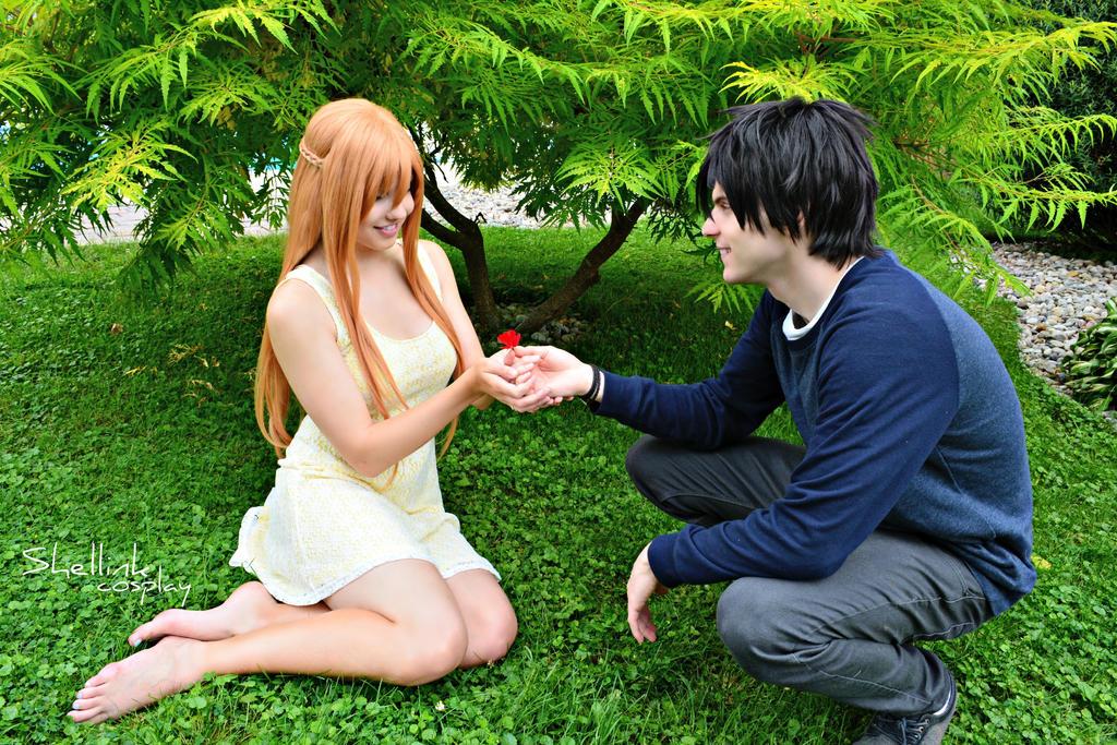 SAO - Kirito and Asuna, beautiful flower by Shellink