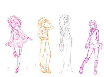 MLP gijinka : Sketchy Ponies by Rik-VReal