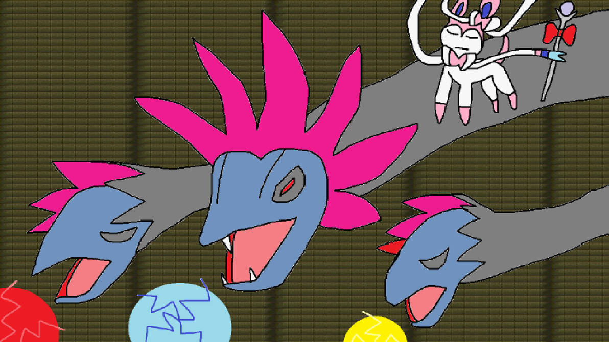 Hydreigon and Sylveon attacking! by Chilup2007